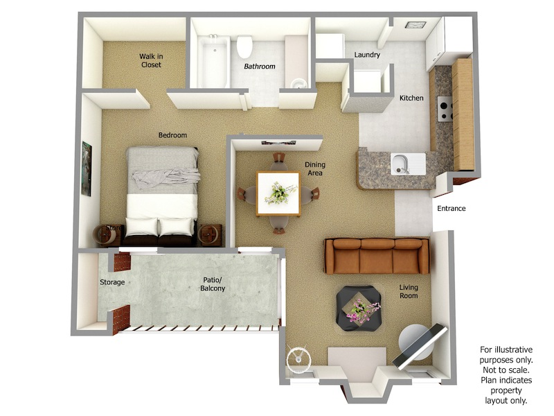 Kenmore Floor Plan, 1 Bedroom, 1 Bath