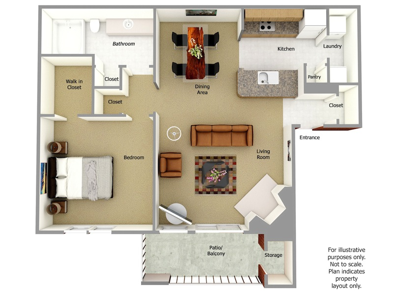Melville Floor Plan, 1 Bedroom, 1 Bath