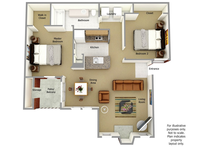 Raleigh Floor Plan, 2 Bedroom, 2 Bath