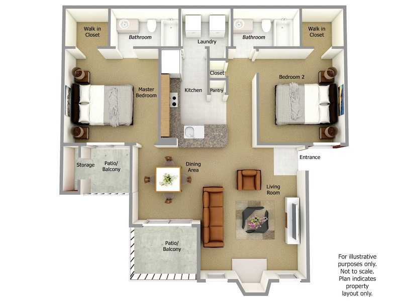 Tyler Floor Plan, 2 Bedroom, 2 Bath