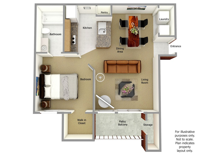 Bainbridge Floor Plan, 1 Bedroom, 1 Bath
