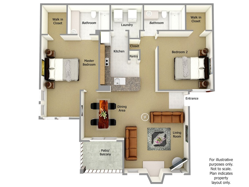 Tucker Floor Plan, 2 Bedrooms, 2 Bath
