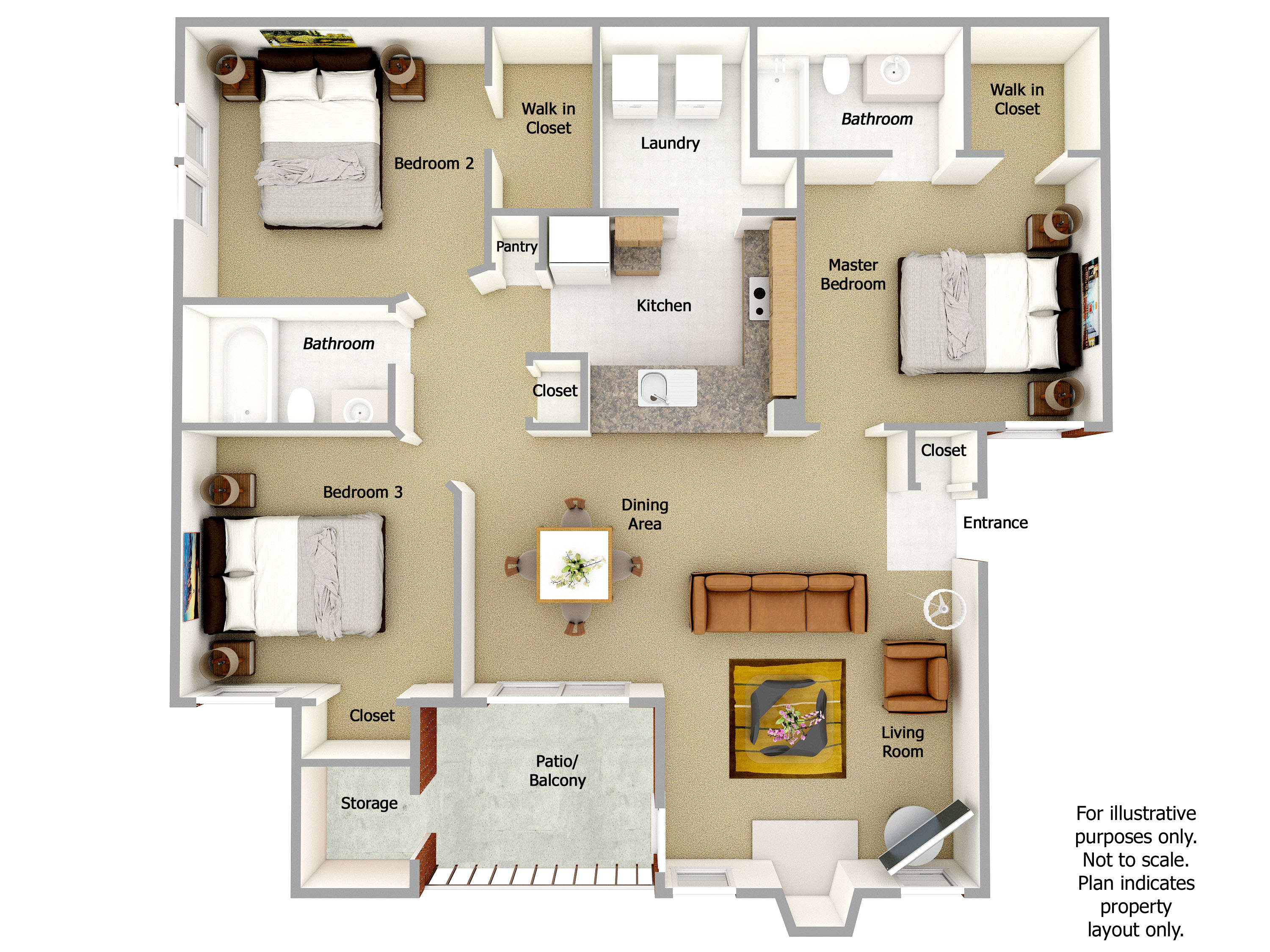 Ryland Floor Plan, 3 Bedrooms, 3 Bath