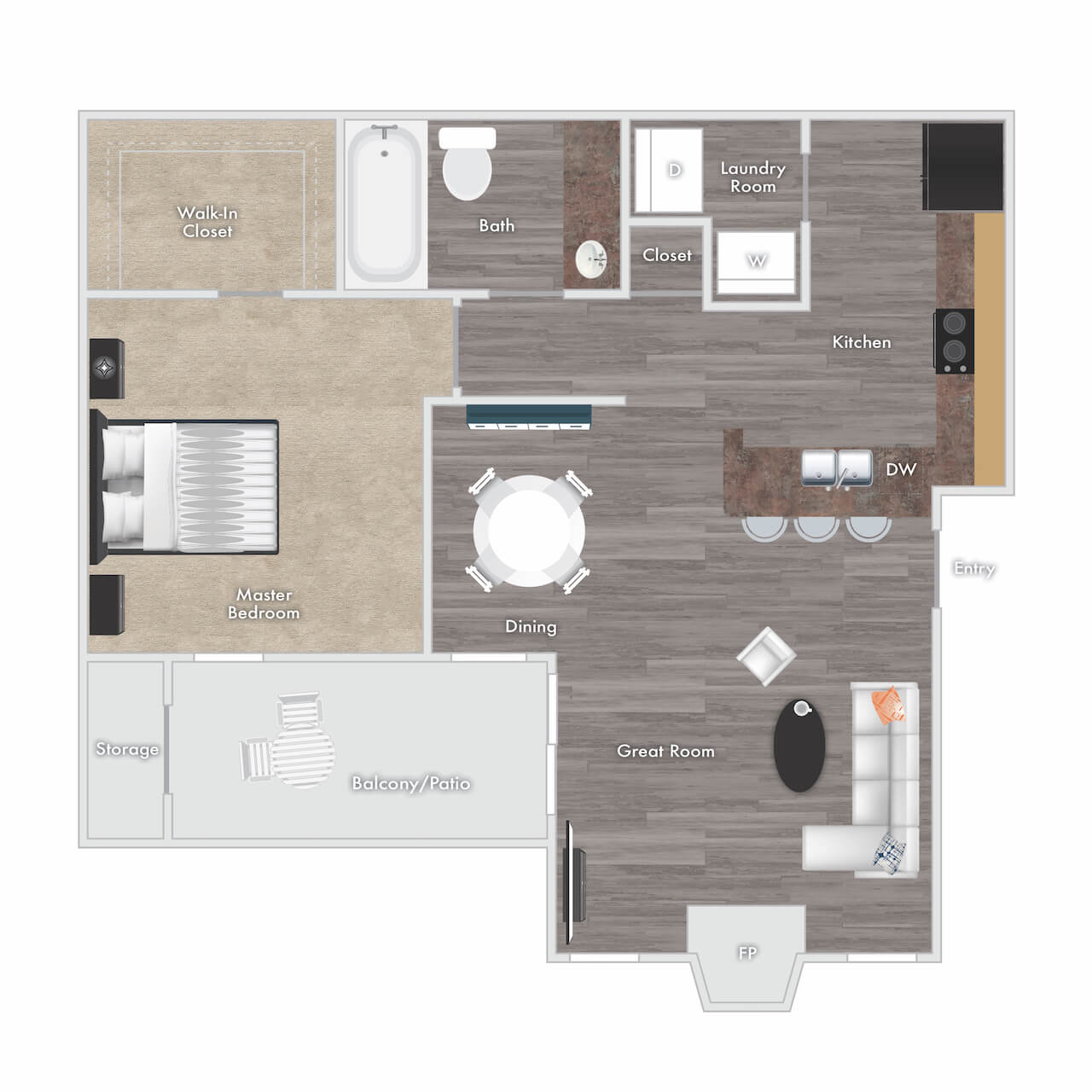 Kenmore floor plan - 1 bed 1 bath with fireplace, balcony, and storage