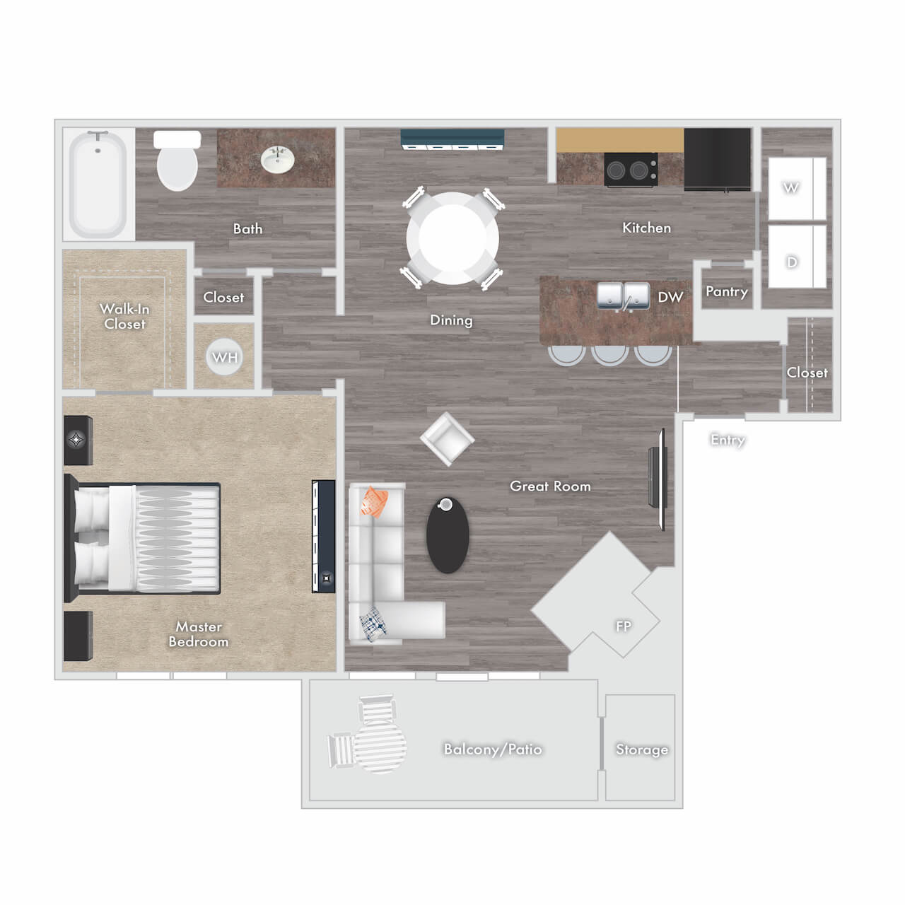Melville floor plan - 1 bed 1 bath with fireplace, balcony, and storage