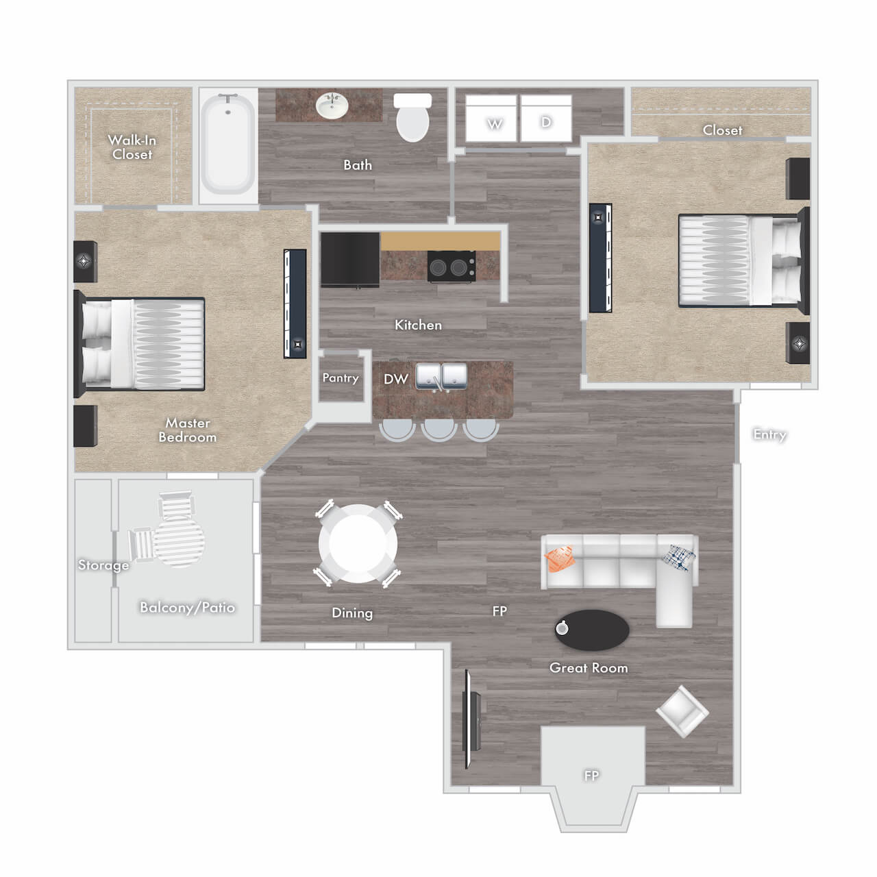 Raleigh floor plan - 1 bed 1 bath with fireplace, balcony and storage