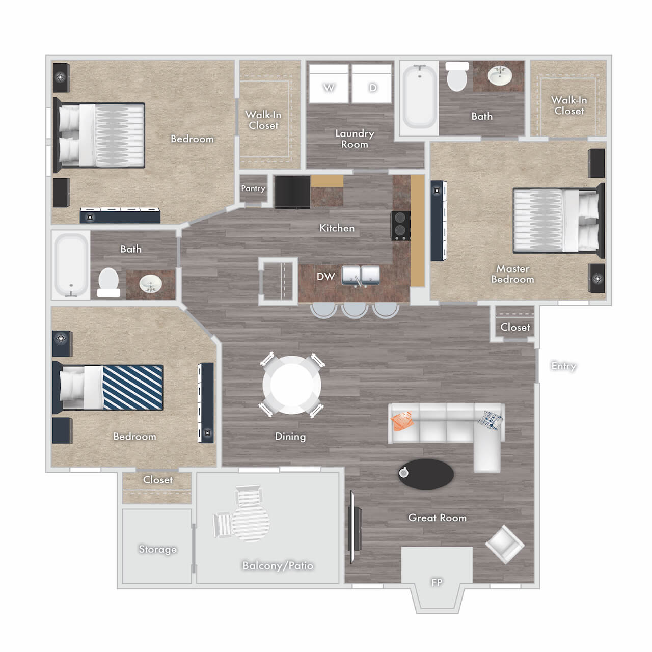 Ryland floor plan - 3 bed 2 bath with fireplace, balcony, and storage