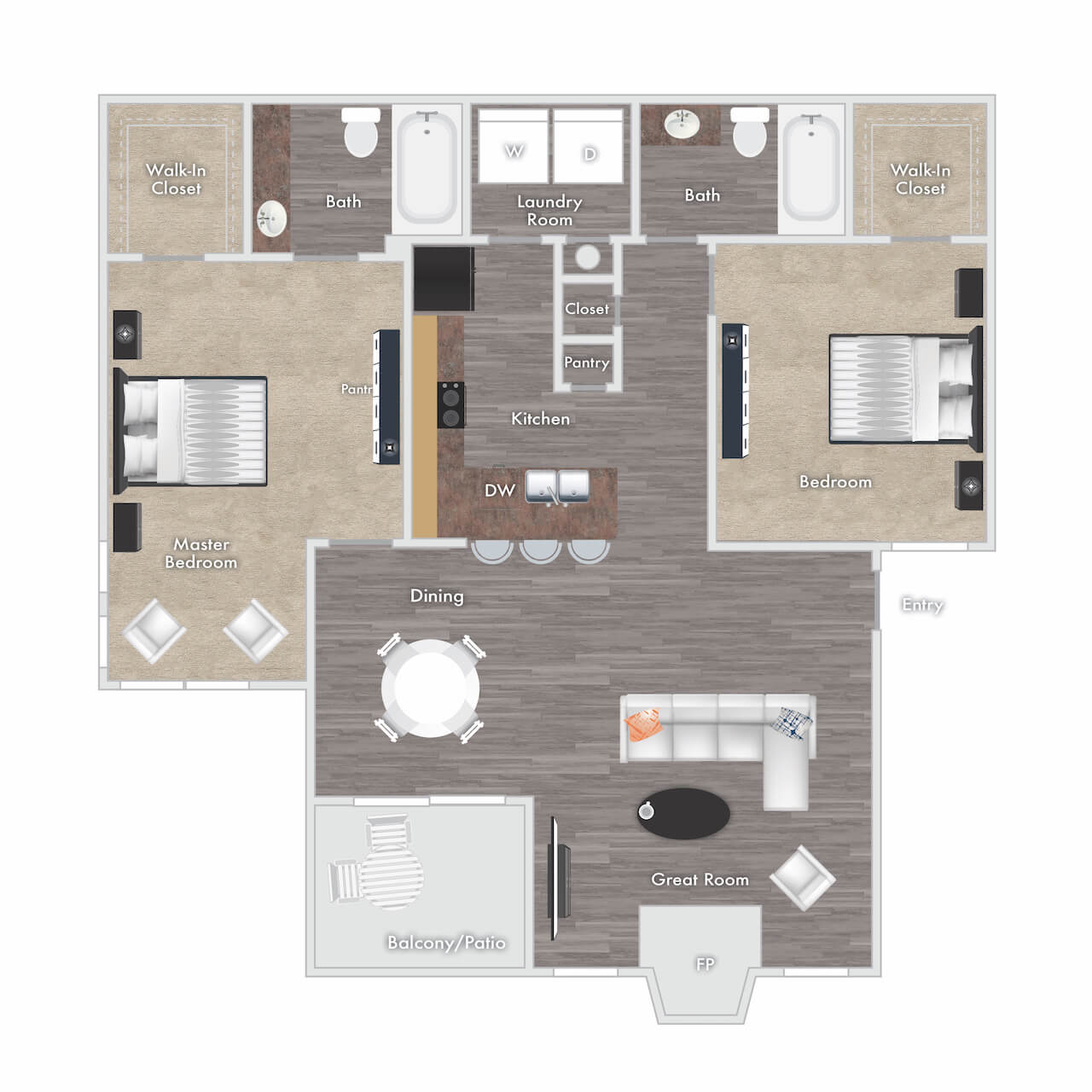 Tucker floor plan - 2 bed 2 bath with fireplace and balcony