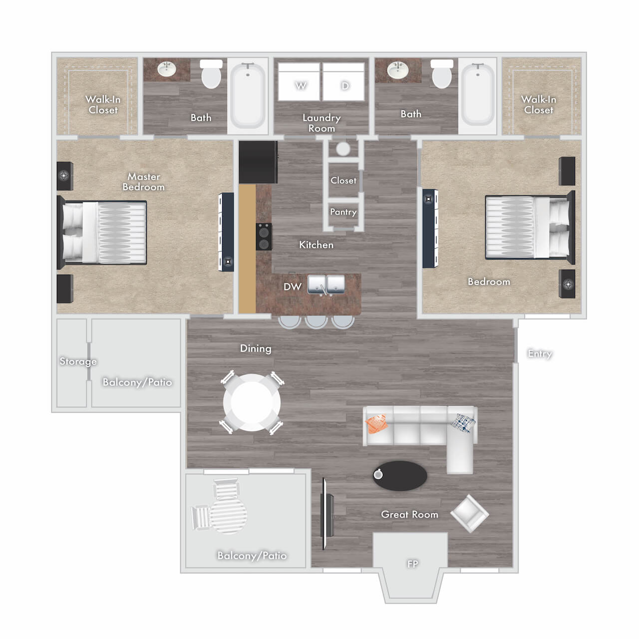 Tyler floor plan - 2 bed 2 bath with fireplace, two balconies and storage